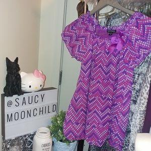 EUC Girls purple chiffon bow balloon hem dress